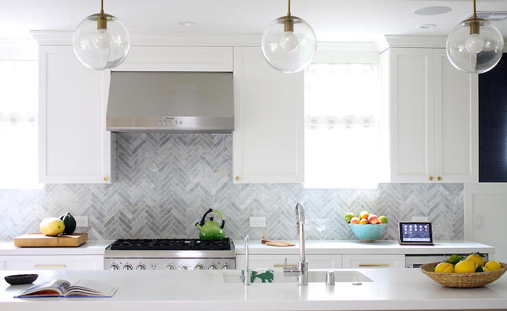 White Kitchen Herringbone Backsplash gray marble herringbone backsplash - contemporary - kitchen