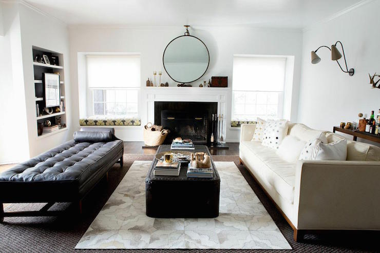 Restoration Hardware Diamond Cowhide Rug Transitional Living Room