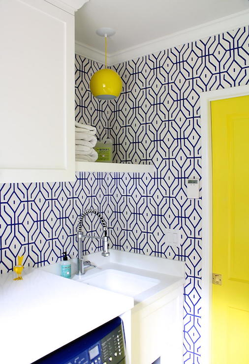 Yellow And Blue Laundry Room Contemporary Laundry Room