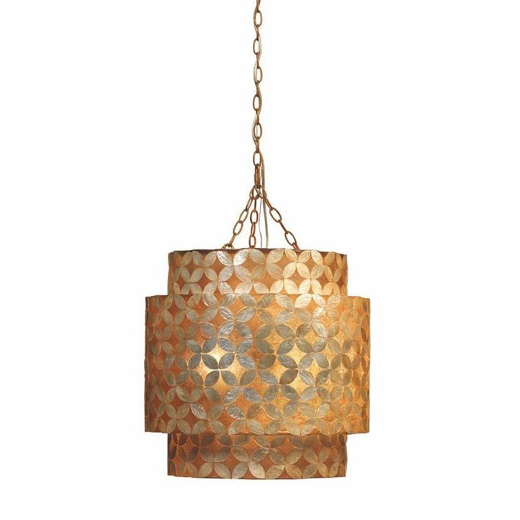 Jamie Young Pacific Capiz Shell Gold Chandelier