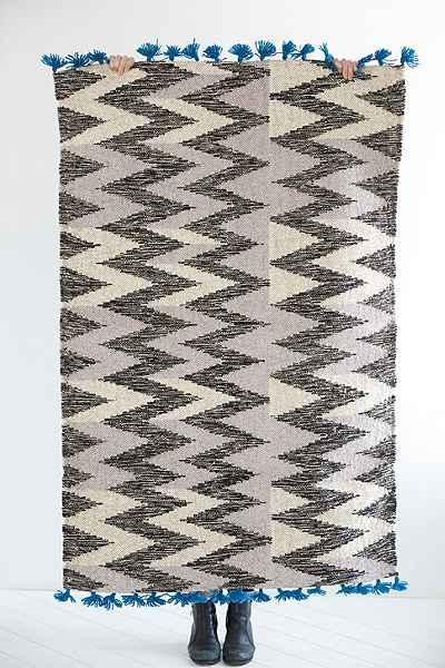 Steven Alan Red Triangle Edge Wool Shag Rug