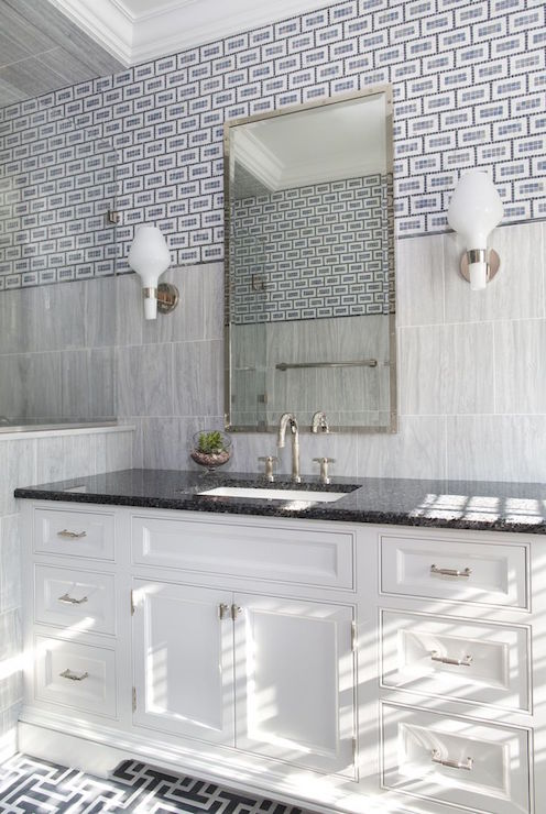 Bathroom With Mixed Tiles Gray Maze Tile Floor Modern White