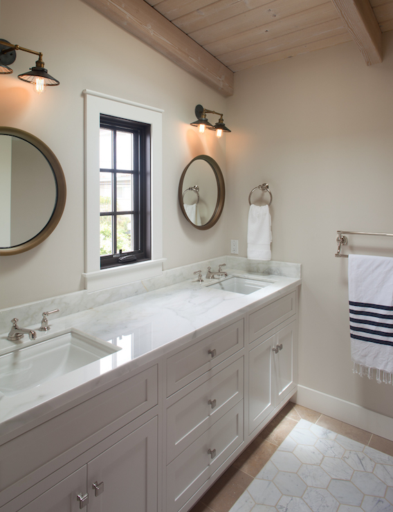 Cottage Bathroom With Plank Ceiling Cottage Bathroom