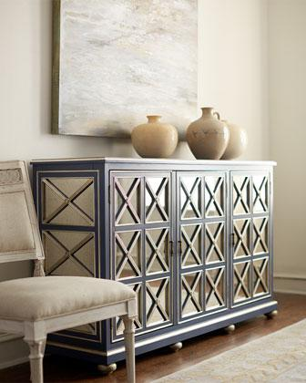 Dalton Tan Mirrored Console Chest