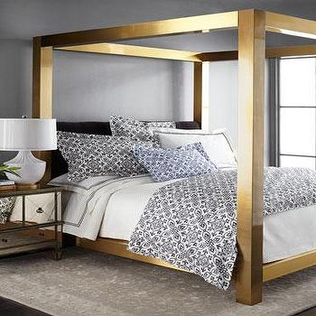 Acrylic Canopy Brass Corners Bed