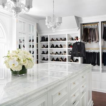 Glam closets transitional closet britto charette for Walk in closet with island
