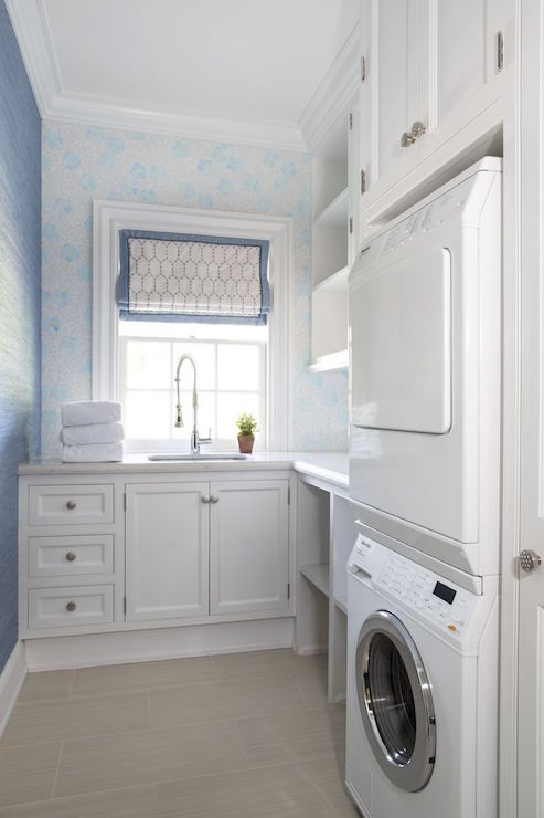 stacked washer and dryer nook transitional laundry room. Black Bedroom Furniture Sets. Home Design Ideas