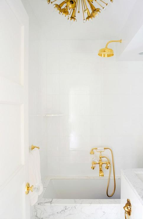gold rain shower head. White and Gold Bathrooms  Contemporary Bathroom