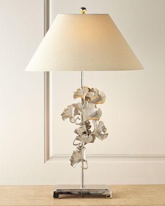 Polished Pencil Buffet Nickel Shade Lamp