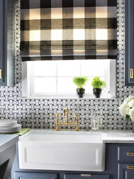 Basket Weave Backsplash Transitional Kitchen