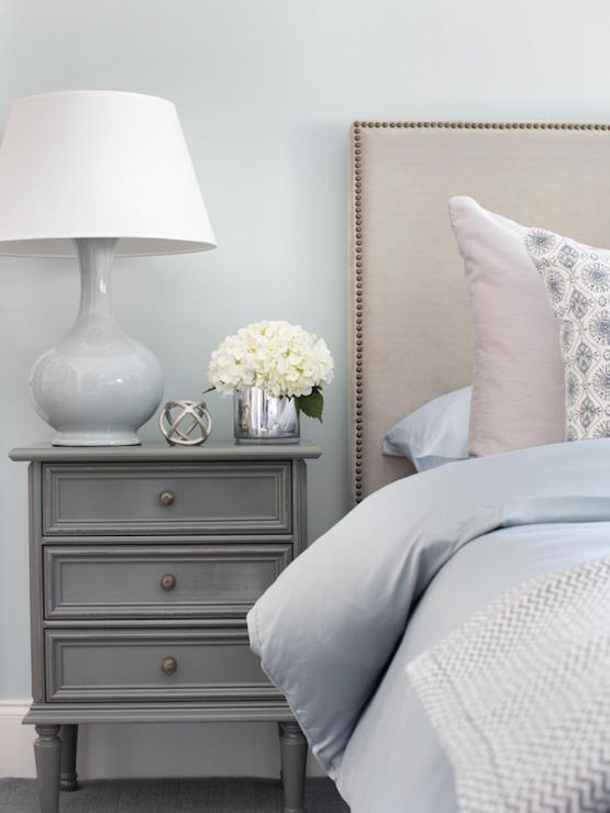 Blue Bedroom With Gray Nightstand Transitional Bedroom