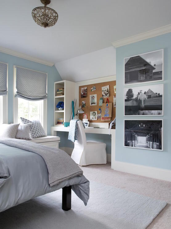Blue Guest Bedroom Design Transitional Bedroom