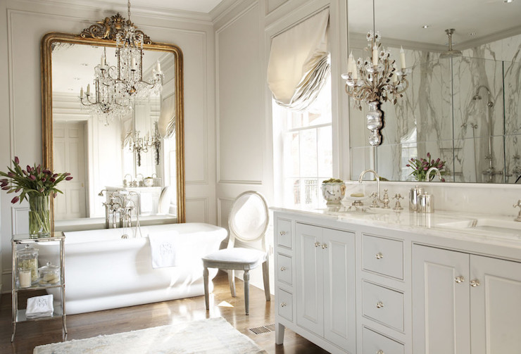 Polished nickel bathroom mirrors - French Master Bathroom Design French Bathroom