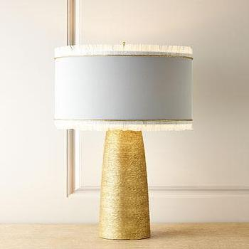 Myvica Table Lamp, Hemp-wrapped Ceramic And Brass Lamp