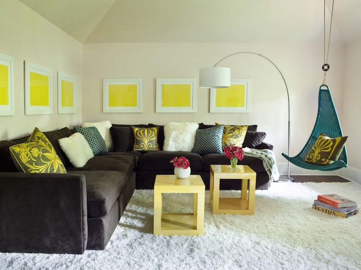 Yellow and brown living room ideas modern house for Yellow brown living room ideas