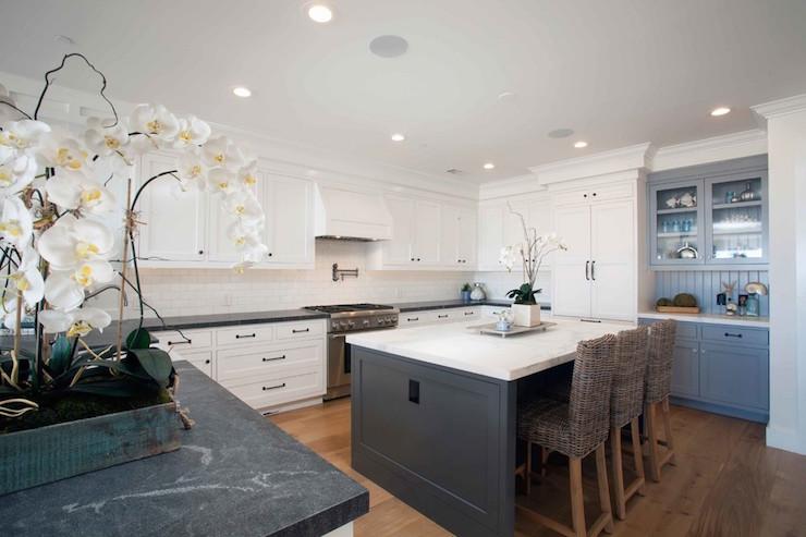 Gray Built In Kitchen Hutch Cottage Kitchen Westbrook Interiors