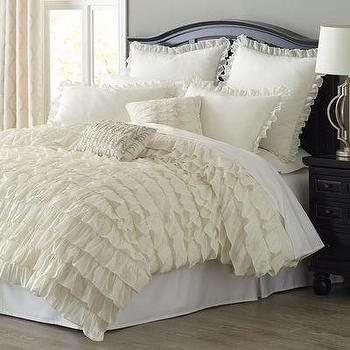 Ivory Ruffled Bliss Bedding and Duvet
