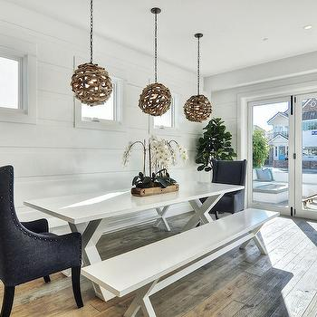 White X Based Dining Table, Cottage, Dining Room