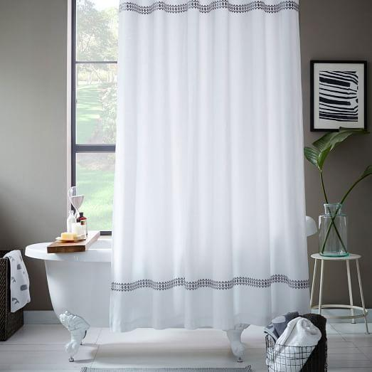 Facet Border White Shower Curtain