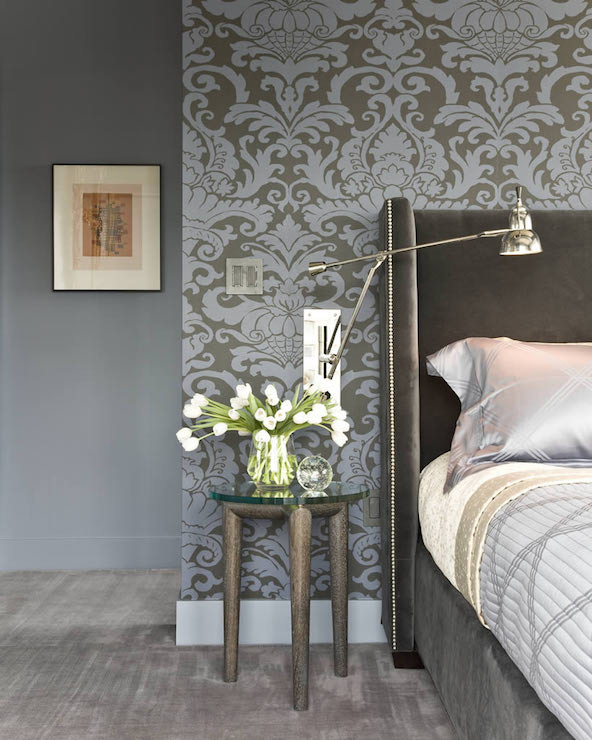 Gray and blue damask wallpaper transitional bedroom for Grey feature wallpaper bedroom
