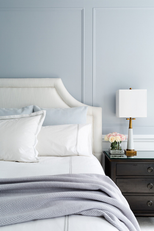 Blue and Gray Bedroom Design - Transitional - Bedroom
