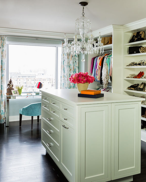 Walk In Closet With Island Transitional