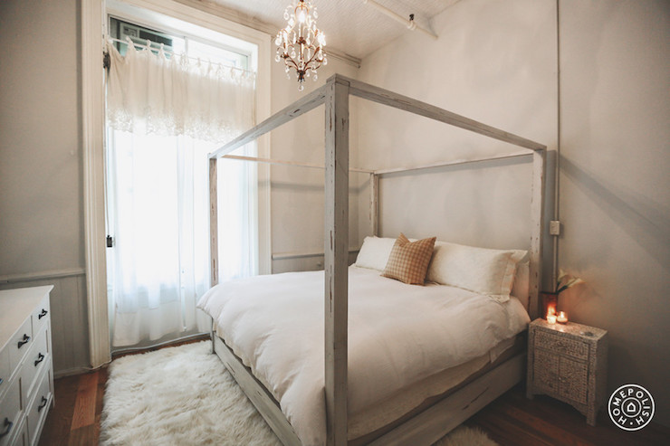 Distressed Gray Canopy Bed & Distressed Gray Canopy Bed - Transitional - Bedroom