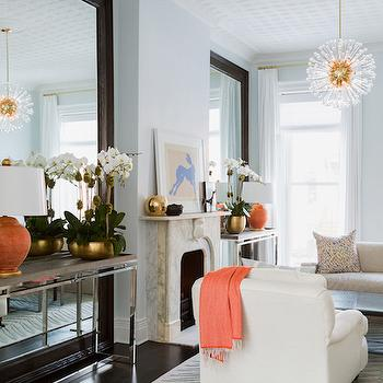 Console Table In Front Of Floor Mirror View Full Size Blue Living Room With Orange Accents