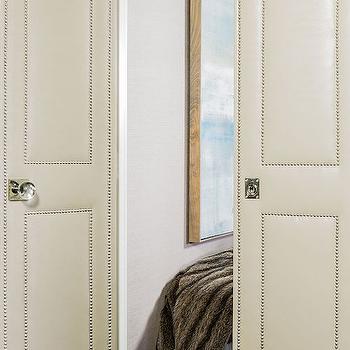 Leather Bi Fold Doors with Nailhead Trim, Transitional, Entrance/foyer