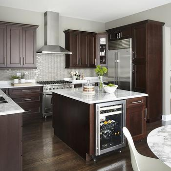 Dark Brown And White Kitchen white cabinets with dark brown island design ideas