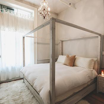 Distressed Gray Canopy Bed