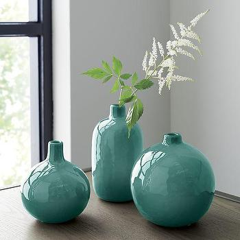 3 Piece Perry Bud, Blue Green Vase Set