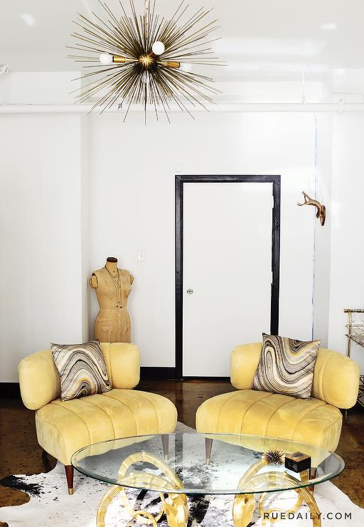 yellow velvet vintage chairs - hollywood regency - living room