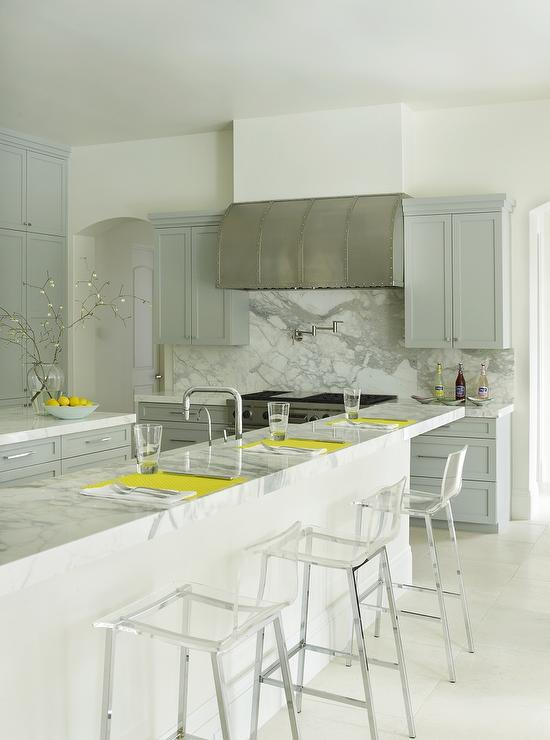 Gray Kitchen With Yellow Accents Contemporary Kitchen