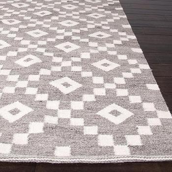 Flat-weave Geometric Pattern Grey Ivory Wool Area Rug