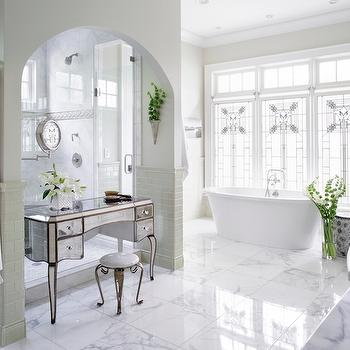 Mirrored Make Up Vanity in Arched Nook, Transitional, Bathroom