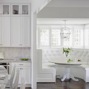 White Tufted Built In Banquette, Transitional, Kitchen
