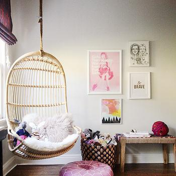 White cottage teen girl room with white hanging rattan for Hanging chair for kids room