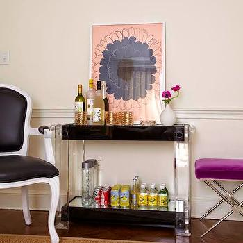 Living Room with Lucite Bar Cart, Contemporary, Living Room