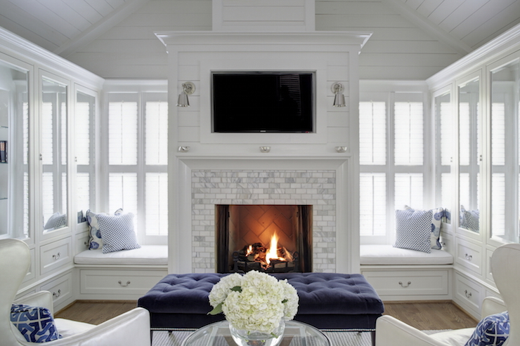 Window Seats Flanking Fireplace Contemporary Living