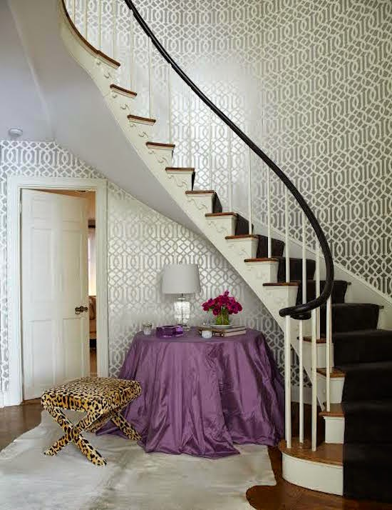 Foyer Wallpaper Gallery : Table under winding staircase contemporary entrance foyer
