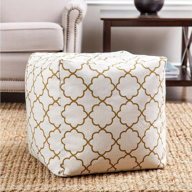 White And Gold Pouf