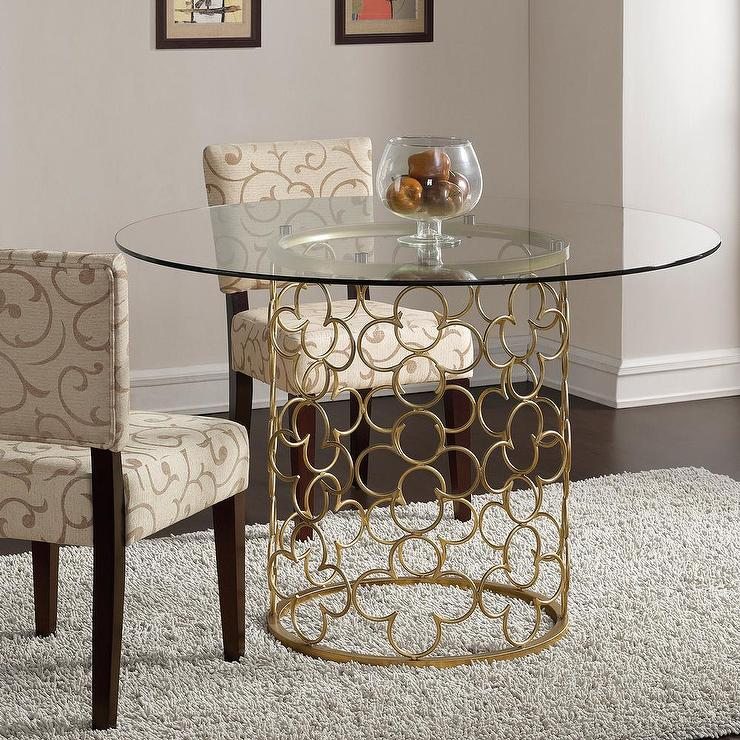 Gold Dining Tables ~ Quatrefoil brush gold dining table