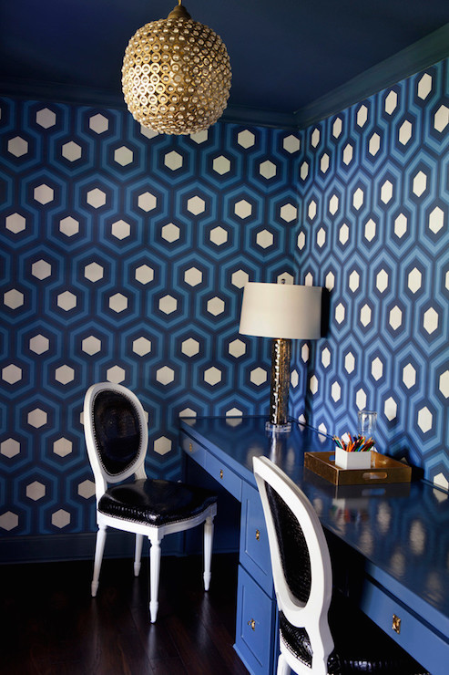 blue office with blue hexagon wallpaper contemporary den library office. Black Bedroom Furniture Sets. Home Design Ideas
