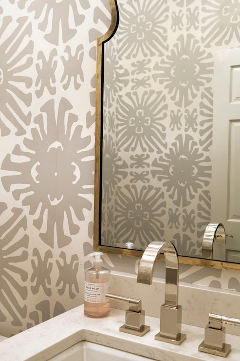Gray Powder Room Wallpaper Transitional Bathroom