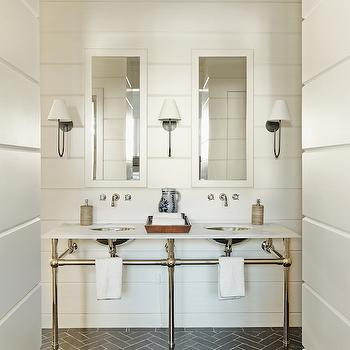 Gray Herringbone Brick Floor Tiles, Transitional, Bathroom