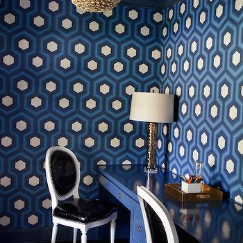 Blue Office with Blue Hexagon Wallpaper, Contemporary, Den/library/office