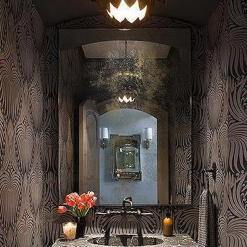 Powder Room with Lotus Wallpaper, Contemporary, Bathroom