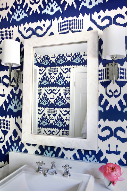 Blue Bathroom With Black And White Bone Inlay Mirror