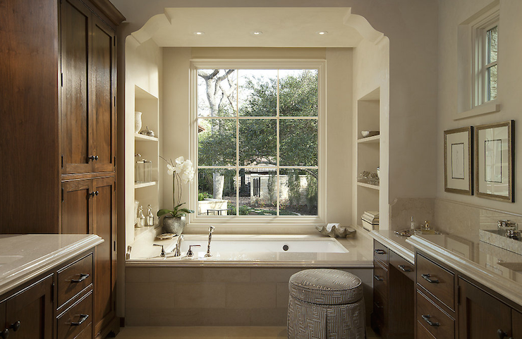 White Master Bathroom With Barrel Ceiling And Marble